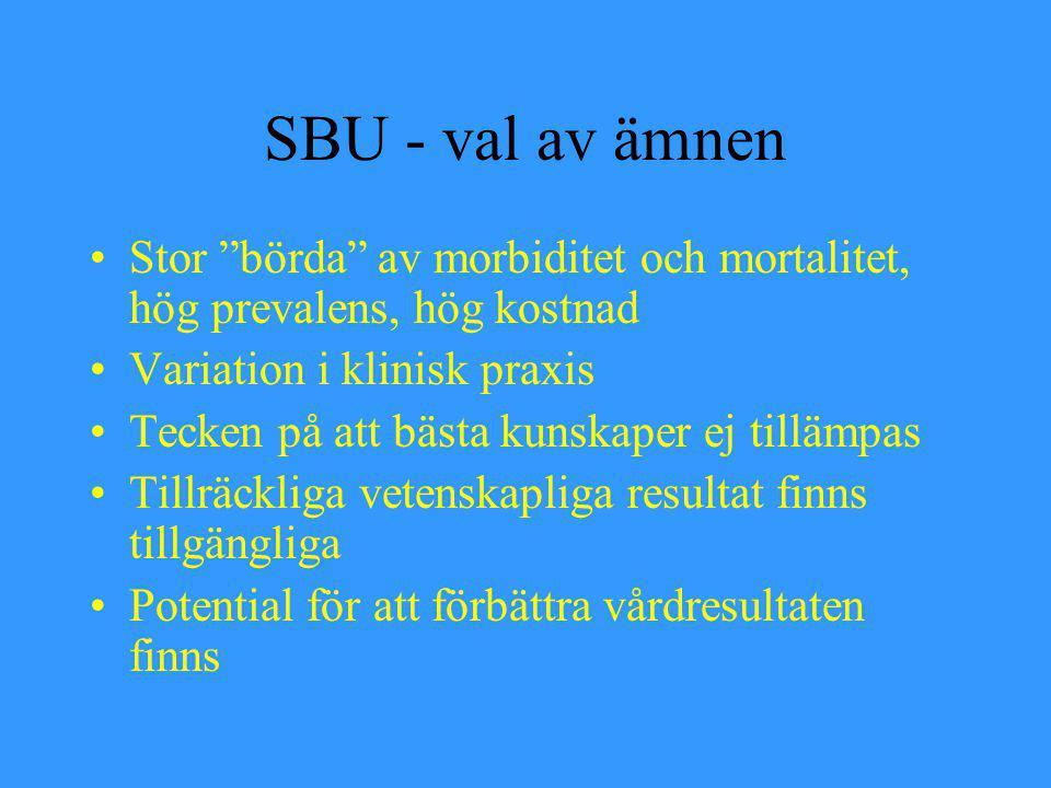 """SBU - val av ämnen Stor """"börda"""" av morbiditet och mortalitet, hög prevalens, hög kostnad Variation i klinisk praxis Tecken på att bästa kunskaper ej t"""