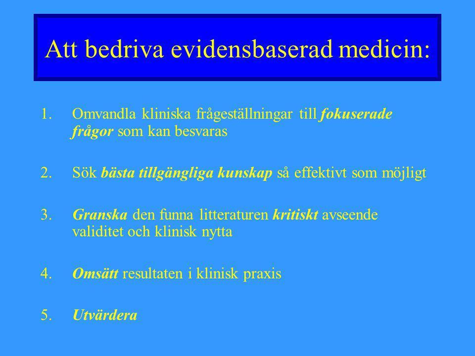 Att bedriva evidensbaserad medicin: 1.Omvandla kliniska frågeställningar till fokuserade frågor som kan besvaras 2. Sök bästa tillgängliga kunskap så
