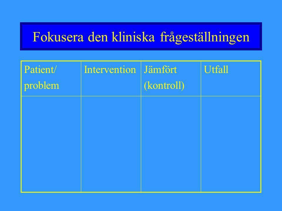 Fokusera den kliniska frågeställningen Patient/ problem InterventionJämfört (kontroll) Utfall