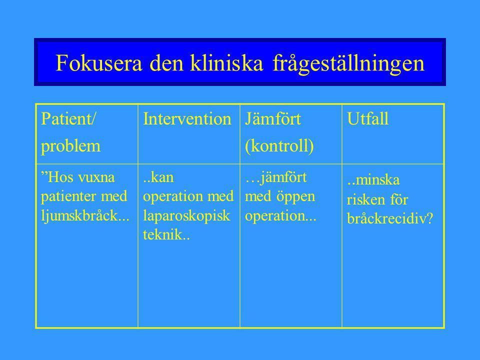 """Fokusera den kliniska frågeställningen Patient/ problem InterventionJämfört (kontroll) Utfall """"Hos vuxna patienter med ljumskbråck.....kan operation m"""