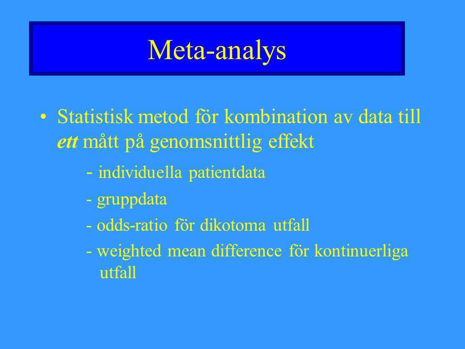 Meta-analys Statistisk metod för kombination av data till ett mått på genomsnittlig effekt - individuella patientdata - gruppdata - odds-ratio för dik