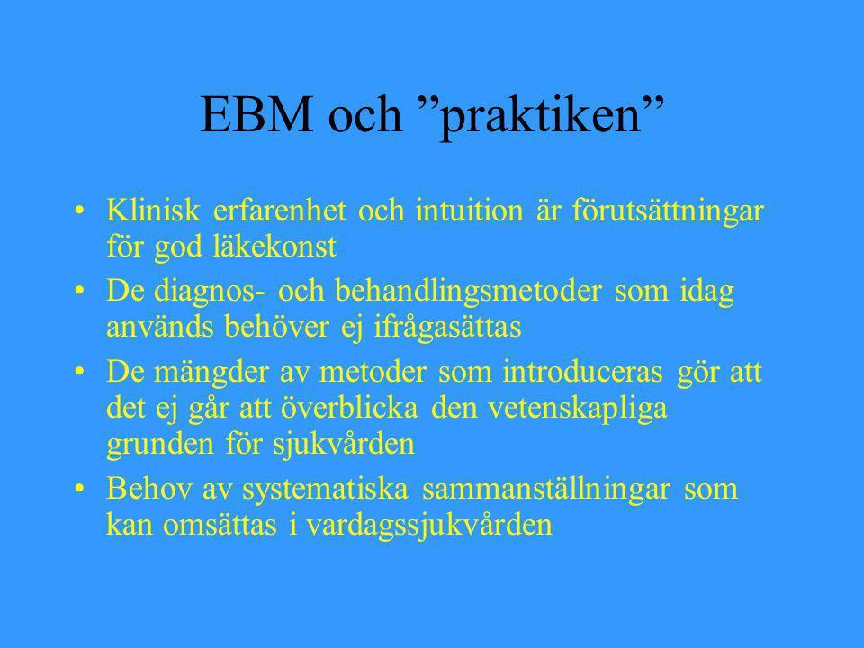 """EBM och """"praktiken"""" Klinisk erfarenhet och intuition är förutsättningar för god läkekonst De diagnos- och behandlingsmetoder som idag används behöver"""