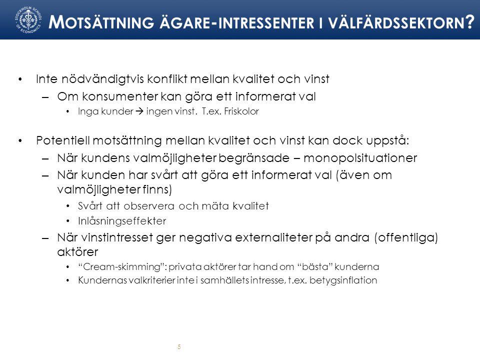 M OTSÄTTNING ÄGARE - INTRESSENTER I VÄLFÄRDSSEKTORN .