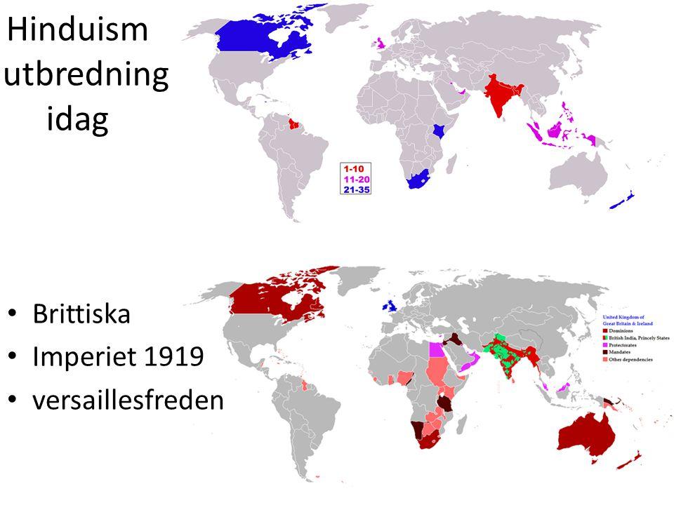 Hinduism utbredning idag Brittiska Imperiet 1919 versaillesfreden
