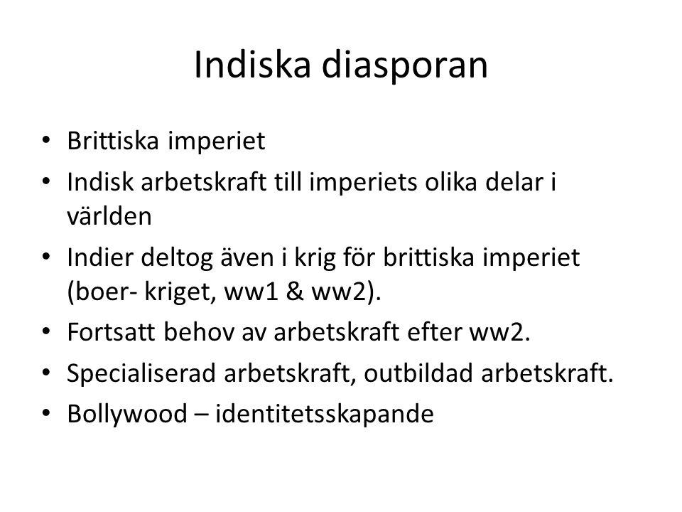 Indiska diasporan Brittiska imperiet Indisk arbetskraft till imperiets olika delar i världen Indier deltog även i krig för brittiska imperiet (boer- k