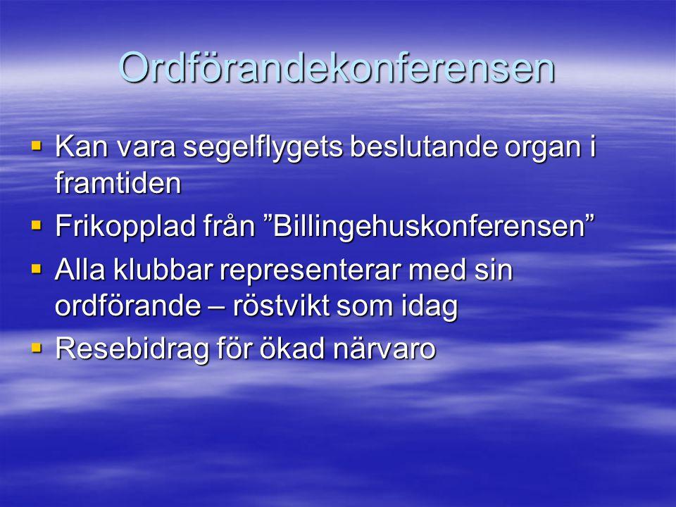 Ordförandekonferensen  Kan vara segelflygets beslutande organ i framtiden  Frikopplad från Billingehuskonferensen  Alla klubbar representerar med sin ordförande – röstvikt som idag  Resebidrag för ökad närvaro