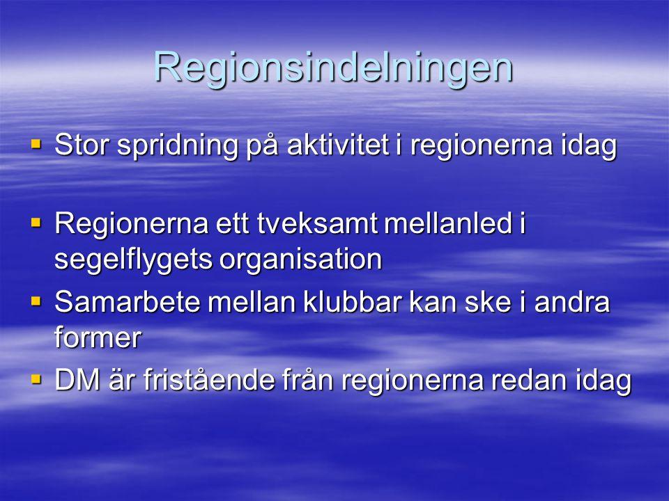 Regionsindelningen  Stor spridning på aktivitet i regionerna idag  Regionerna ett tveksamt mellanled i segelflygets organisation  Samarbete mellan klubbar kan ske i andra former  DM är fristående från regionerna redan idag