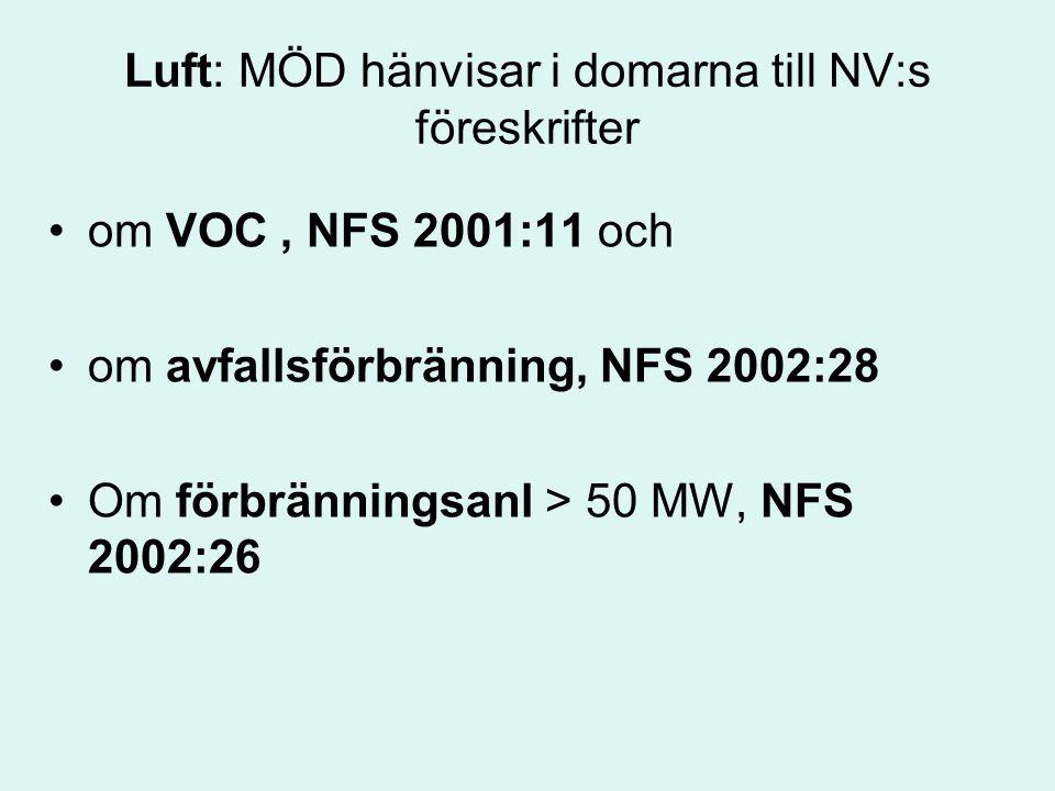 Luft: MÖD hänvisar i domarna till NV:s föreskrifter om VOC, NFS 2001:11 och om avfallsförbränning, NFS 2002:28 Om förbränningsanl > 50 MW, NFS 2002:26