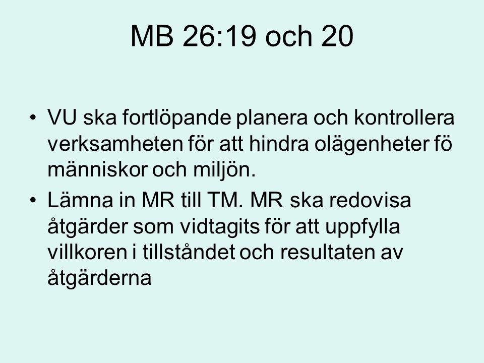 MB 26:19 och 20 VU ska fortlöpande planera och kontrollera verksamheten för att hindra olägenheter fö människor och miljön. Lämna in MR till TM. MR sk