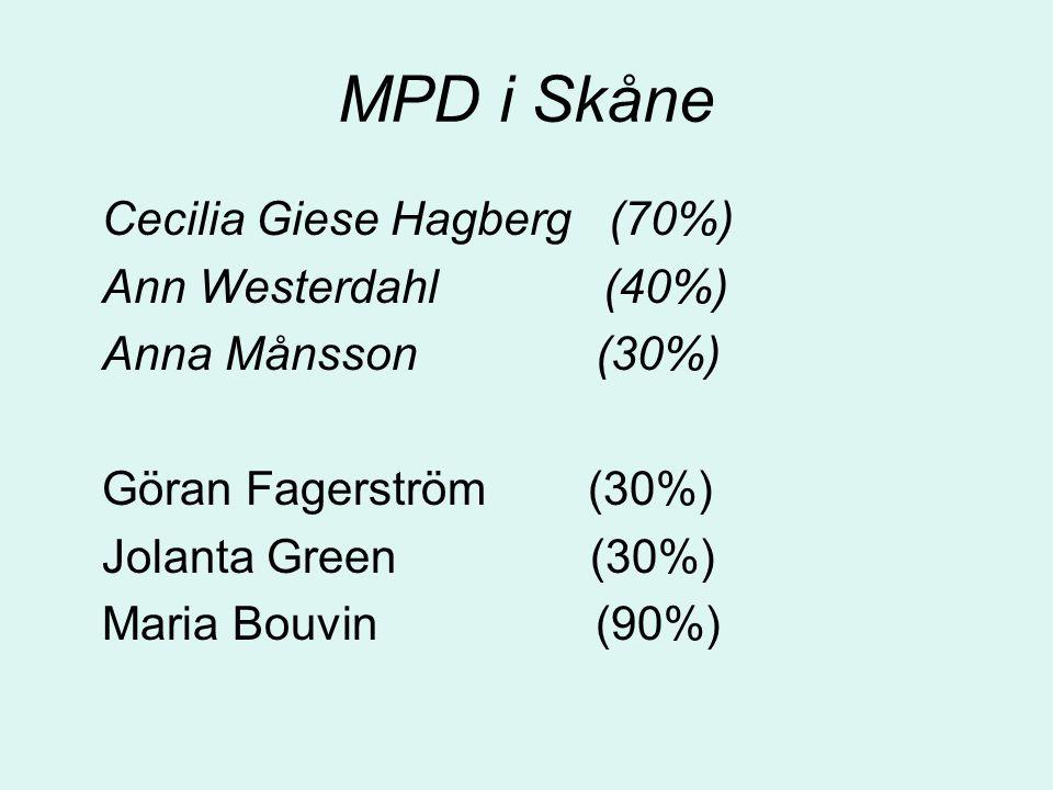 MPD i Skåne Cecilia Giese Hagberg (70%) Ann Westerdahl (40%) Anna Månsson (30%) Göran Fagerström (30%) Jolanta Green (30%) Maria Bouvin (90%)