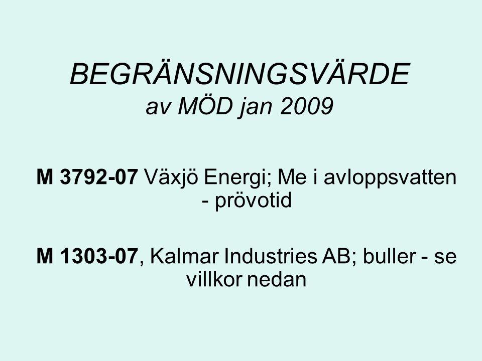 BEGRÄNSNINGSVÄRDE av MÖD jan 2009 M 3792-07 Växjö Energi; Me i avloppsvatten - prövotid M 1303-07, Kalmar Industries AB; buller - se villkor nedan
