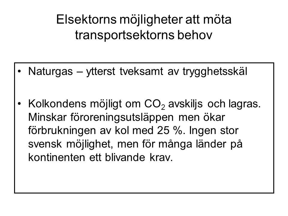 Elsektorns möjligheter att möta transportsektorns behov Naturgas – ytterst tveksamt av trygghetsskäl Kolkondens möjligt om CO 2 avskiljs och lagras.