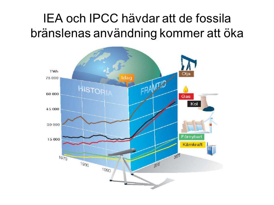 IEA och IPCC hävdar att de fossila bränslenas användning kommer att öka