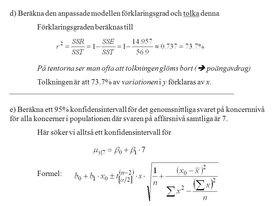 d) Beräkna den anpassade modellen förklaringsgrad och tolka denna Förklaringsgraden beräknas till På tentorna ser man ofta att tolkningen glöms bort (  poängavdrag) Tolkningen är att 73.7% av variationen i y förklaras av x.