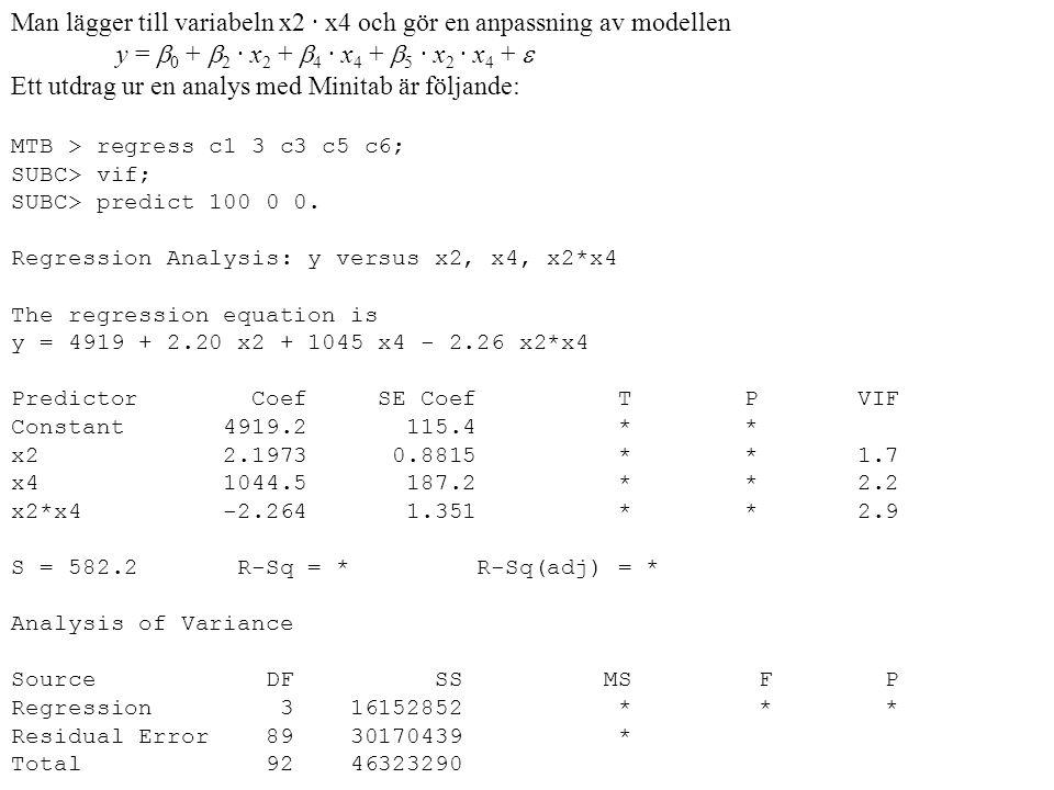 Man lägger till variabeln x2 · x4 och gör en anpassning av modellen y =  0 +  2 · x 2 +  4 · x 4 +  5 · x 2 · x 4 +  Ett utdrag ur en analys med Minitab är följande: MTB > regress c1 3 c3 c5 c6; SUBC> vif; SUBC> predict 100 0 0.