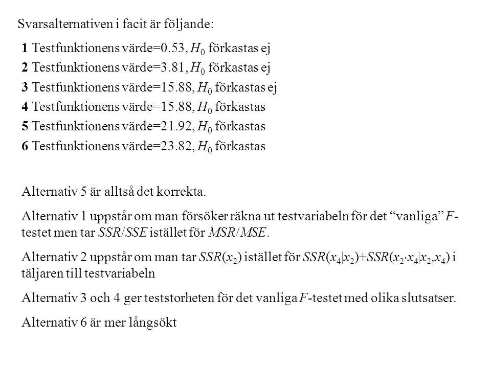 Svarsalternativen i facit är följande: 1 Testfunktionens värde=0.53, H 0 förkastas ej 2 Testfunktionens värde=3.81, H 0 förkastas ej 3 Testfunktionens värde=15.88, H 0 förkastas ej 4 Testfunktionens värde=15.88, H 0 förkastas 5 Testfunktionens värde=21.92, H 0 förkastas 6 Testfunktionens värde=23.82, H 0 förkastas Alternativ 5 är alltså det korrekta.