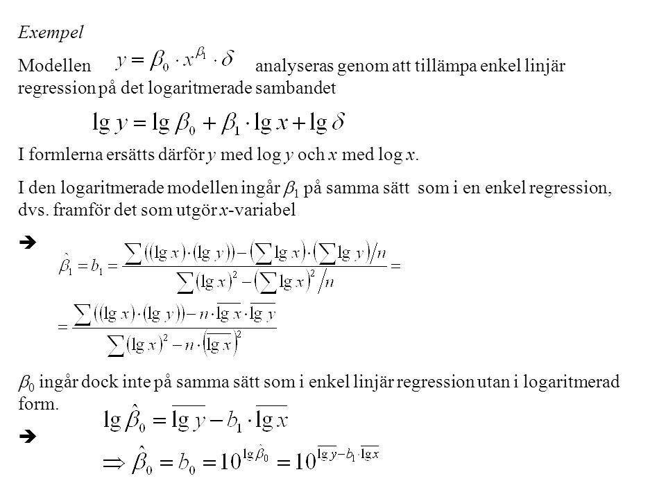 Exempel Modellen analyseras genom att tillämpa enkel linjär regression på det logaritmerade sambandet I formlerna ersätts därför y med log y och x med log x.