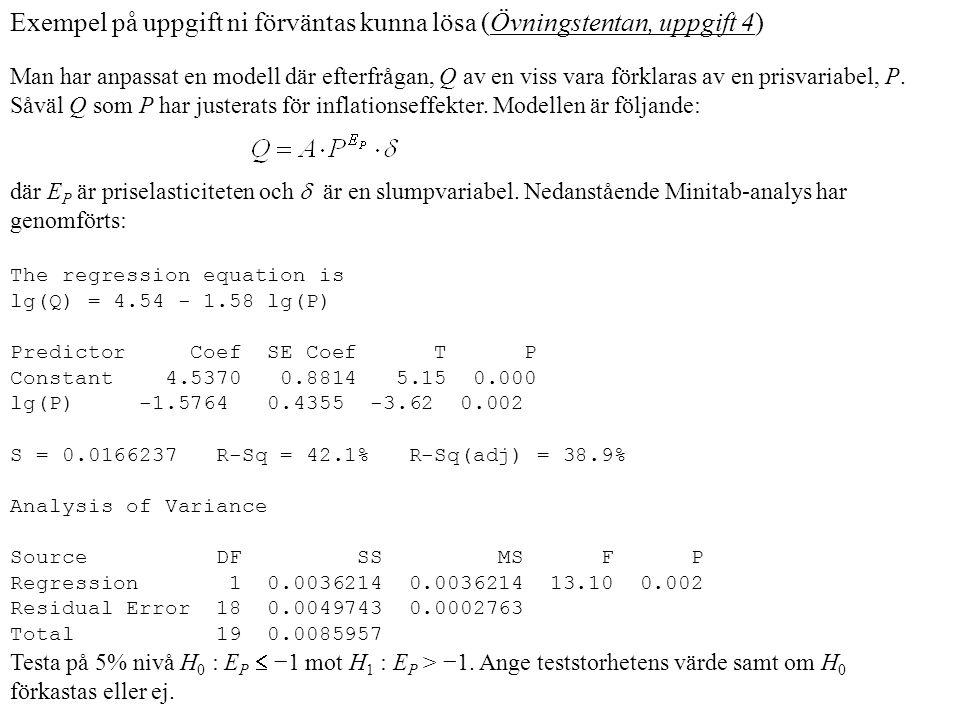Exempel på uppgift ni förväntas kunna lösa (Övningstentan, uppgift 4) Man har anpassat en modell där efterfrågan, Q av en viss vara förklaras av en prisvariabel, P.