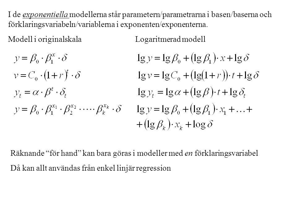 I de exponentiella modellerna står parametern/parametrarna i basen/baserna och förklaringsvariabeln/variablerna i exponenten/exponenterna.