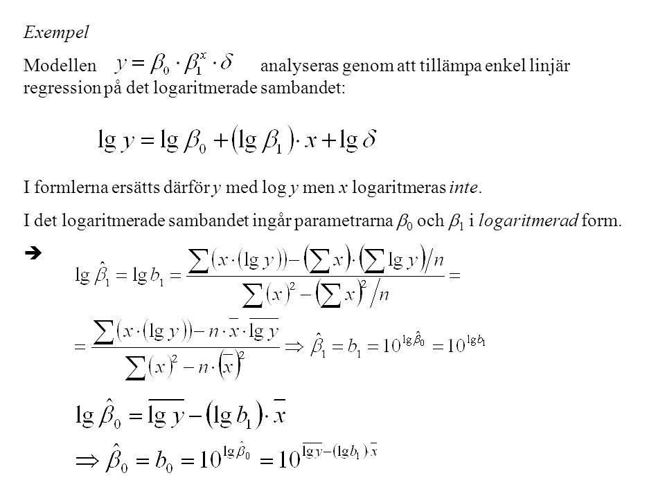 Exempel Modellen analyseras genom att tillämpa enkel linjär regression på det logaritmerade sambandet: I formlerna ersätts därför y med log y men x lo