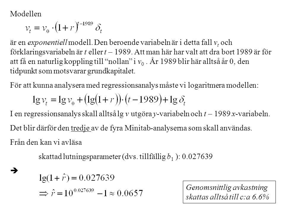 Modellen är en exponentiell modell. Den beroende variabeln är i detta fall v t och förklaringsvariabeln är t eller t – 1989. Att man här har valt att