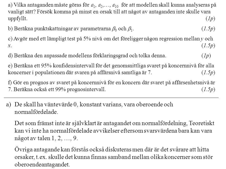 a) Vilka antaganden måste göras för  1,  2,…,  10 för att modellen skall kunna analyseras på vanligt sätt? Försök komma på minst en orsak till att