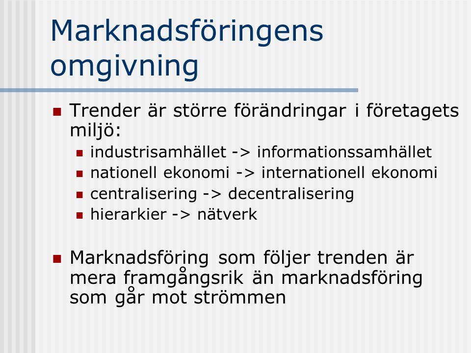 Marknadsföringens omgivning Trender är större förändringar i företagets miljö: industrisamhället -> informationssamhället nationell ekonomi -> interna