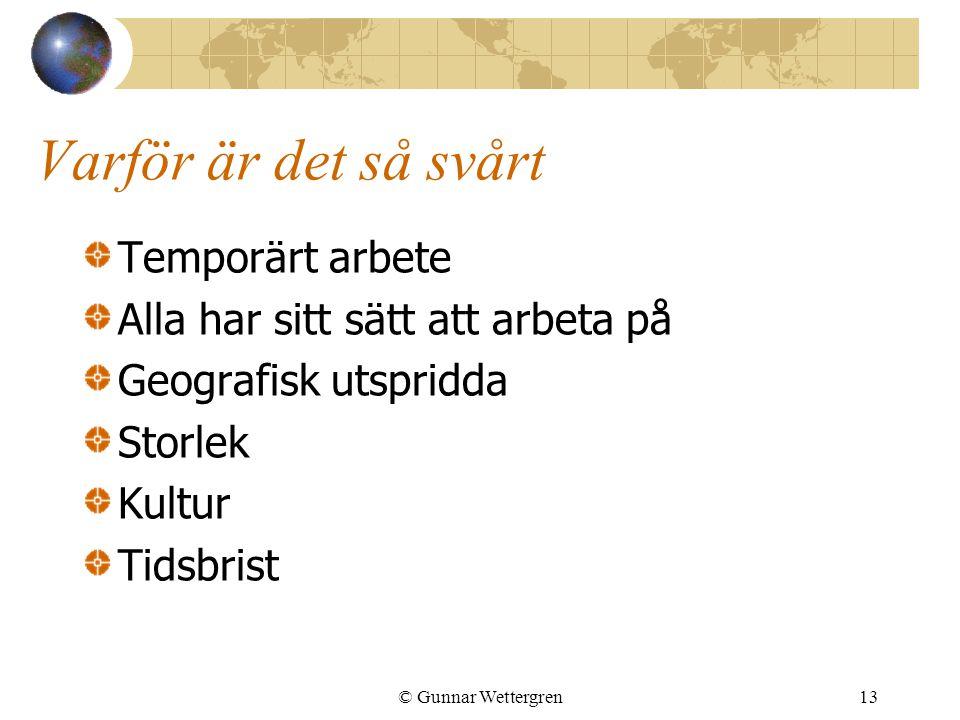 Varför är det så svårt Temporärt arbete Alla har sitt sätt att arbeta på Geografisk utspridda Storlek Kultur Tidsbrist © Gunnar Wettergren13