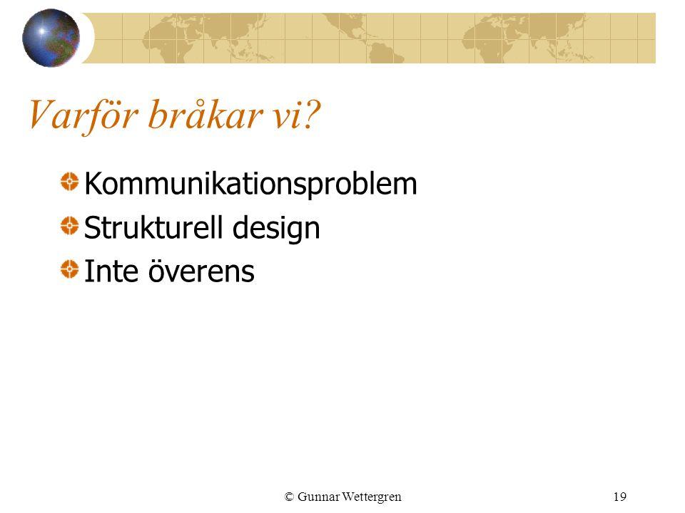 Varför bråkar vi? Kommunikationsproblem Strukturell design Inte överens © Gunnar Wettergren19