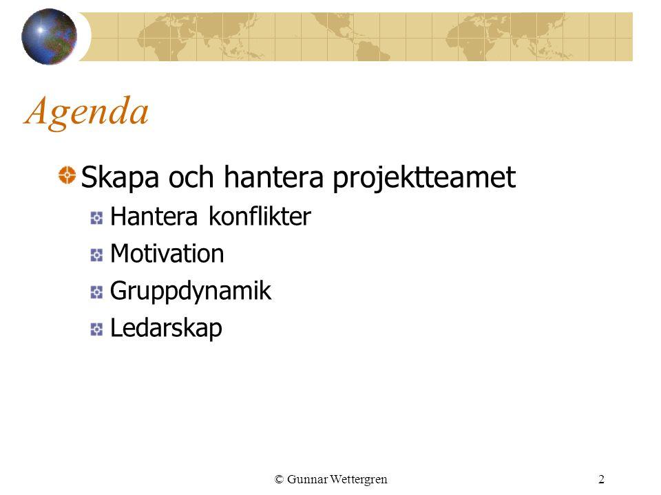 Agenda Skapa och hantera projektteamet Hantera konflikter Motivation Gruppdynamik Ledarskap © Gunnar Wettergren2