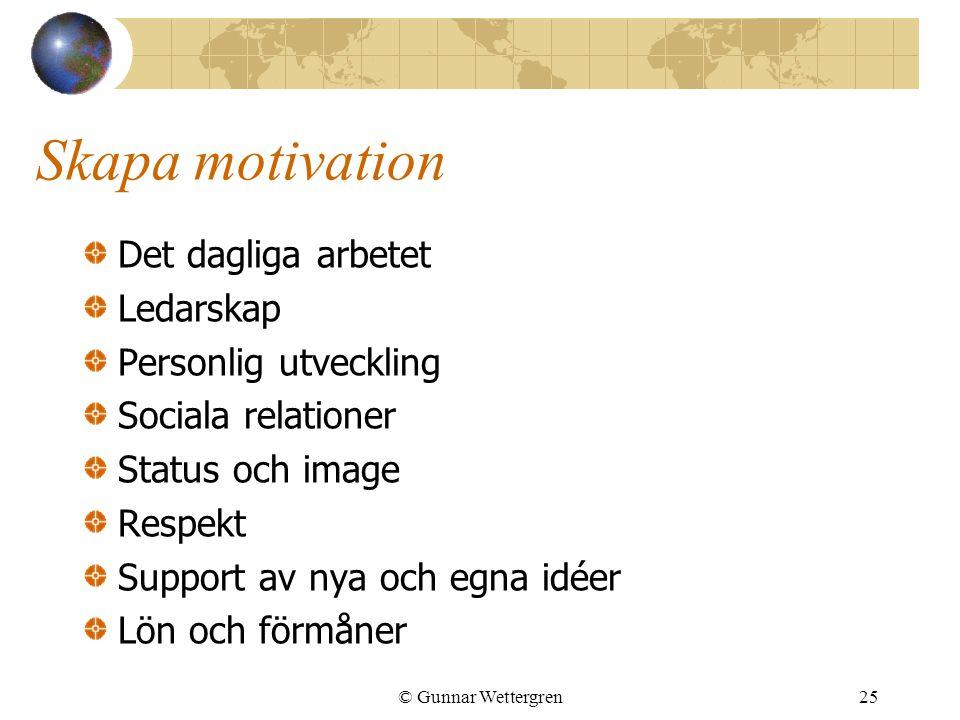 Skapa motivation Det dagliga arbetet Ledarskap Personlig utveckling Sociala relationer Status och image Respekt Support av nya och egna idéer Lön och