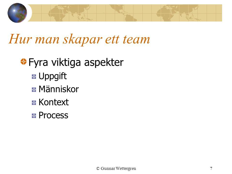 Hur man skapar ett team Fyra viktiga aspekter Uppgift Människor Kontext Process © Gunnar Wettergren7