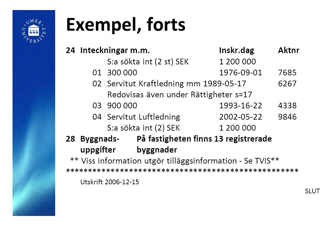 Exempel, forts 24Inteckningar m.m.Inskr.dagAktnr S:a sökta int (2 st) SEK1 200 000 01300 000 1976-09-017685 02Servitut Kraftledning mm 1989-05-176267