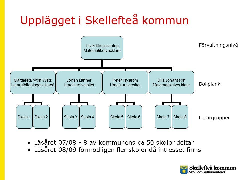 Upplägget i Skellefteå kommun Förvaltningsnivå Bollplank Lärargrupper Läsåret 07/08 - 8 av kommunens ca 50 skolor deltar Läsåret 08/09 förmodligen fler skolor då intresset finns