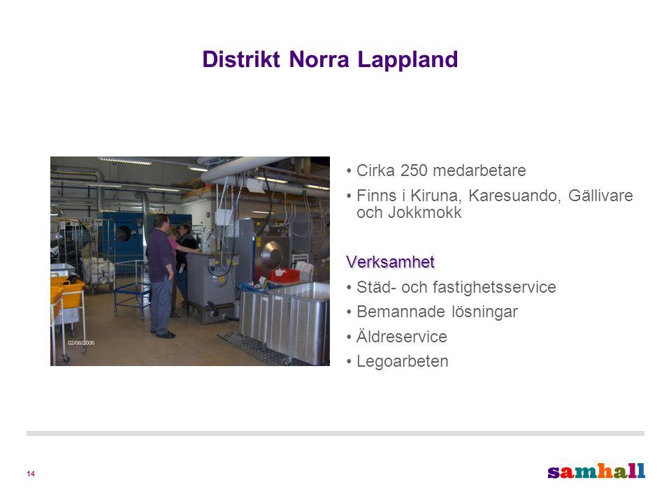 14 Distrikt Norra Lappland Cirka 250 medarbetare Finns i Kiruna, Karesuando, Gällivare och JokkmokkVerksamhet Städ- och fastighetsservice Bemannade lösningar Äldreservice Legoarbeten