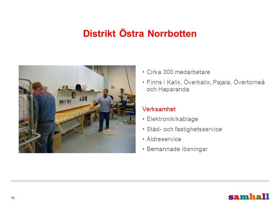 15 Distrikt Östra Norrbotten Cirka 300 medarbetare Finns i Kalix, Överkalix, Pajala, Övertorneå och HaparandaVerksamhet Elektronik/kablage Städ- och fastighetsservice Äldreservice Bemannade lösningar