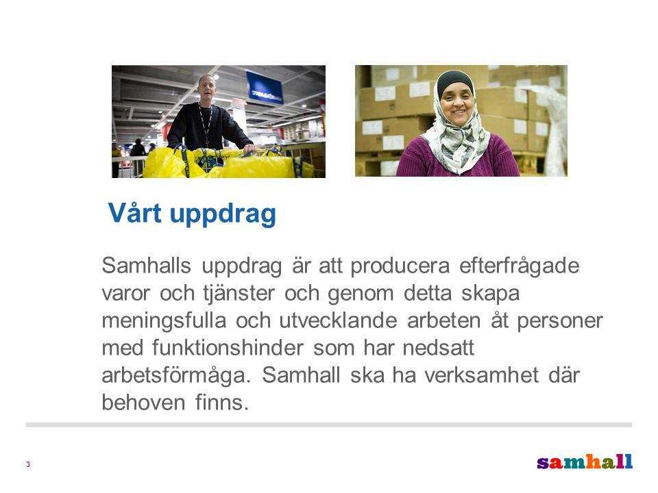 4 Vår vision Samhall ska vara det ledande företaget i Sverige för utveckling genom arbete för personer med funktionshinder.