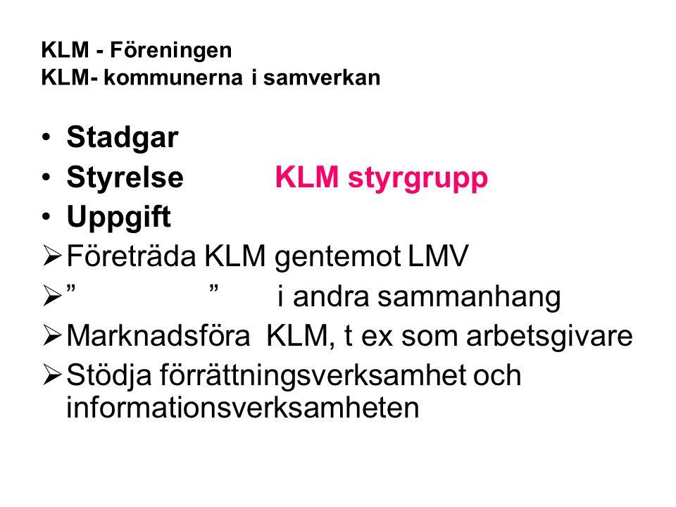 """Stadgar Styrelse KLM styrgrupp Uppgift  Företräda KLM gentemot LMV  """" """" i andra sammanhang  Marknadsföra KLM, t ex som arbetsgivare  Stödja förrät"""