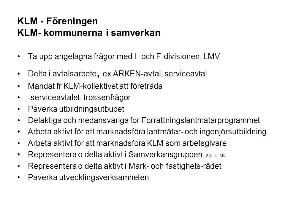 KLM - Föreningen KLM- kommunerna i samverkan Ta upp angelägna frågor med I- och F-divisionen, LMV Delta i avtalsarbete, ex ARKEN-avtal, serviceavtal M