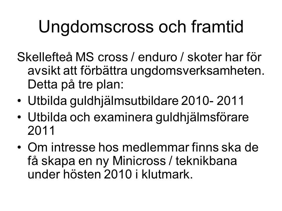 Ungdomscross och framtid Skellefteå MS cross / enduro / skoter har för avsikt att förbättra ungdomsverksamheten. Detta på tre plan: Utbilda guldhjälms