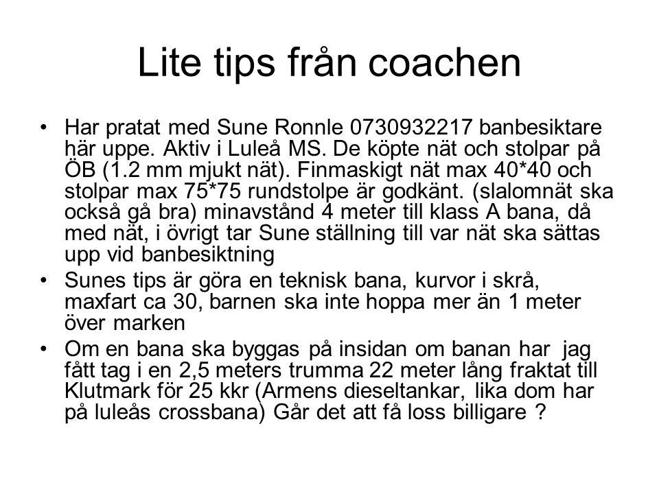 Lite tips från coachen Har pratat med Sune Ronnle 0730932217 banbesiktare här uppe. Aktiv i Luleå MS. De köpte nät och stolpar på ÖB (1.2 mm mjukt nät