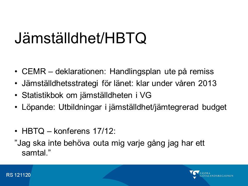 RS 121120 Jämställdhet/HBTQ CEMR – deklarationen: Handlingsplan ute på remiss Jämställdhetsstrategi för länet: klar under våren 2013 Statistikbok om jämställdheten i VG Löpande: Utbildningar i jämställdhet/jämtegrerad budget HBTQ – konferens 17/12: Jag ska inte behöva outa mig varje gång jag har ett samtal.