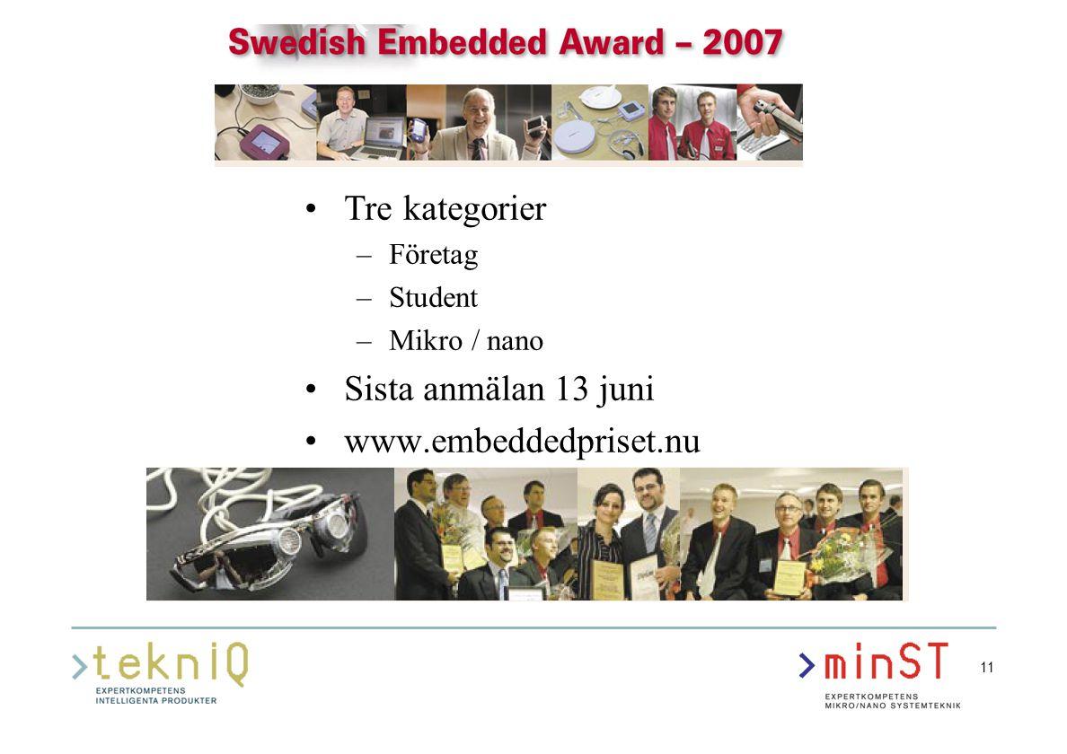 11 Tre kategorier –Företag –Student –Mikro / nano Sista anmälan 13 juni www.embeddedpriset.nu
