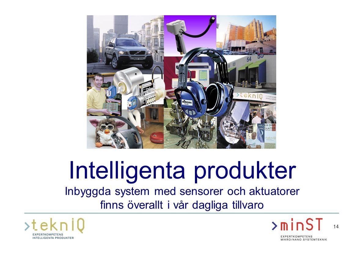 14 Intelligenta produkter Inbyggda system med sensorer och aktuatorer finns överallt i vår dagliga tillvaro