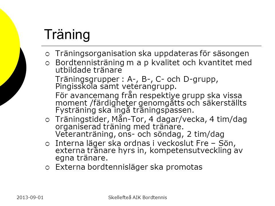 Träning  Träningsorganisation ska uppdateras för säsongen  Bordtennisträning m a p kvalitet och kvantitet med utbildade tränare Träningsgrupper : A-, B-, C- och D-grupp, Pingisskola samt veterangrupp.