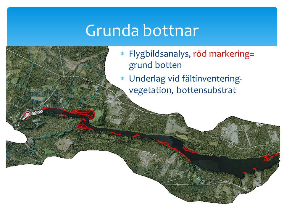  Flygbildsanalys, röd markering= grund botten  Underlag vid fältinventering- vegetation, bottensubstrat Grunda bottnar