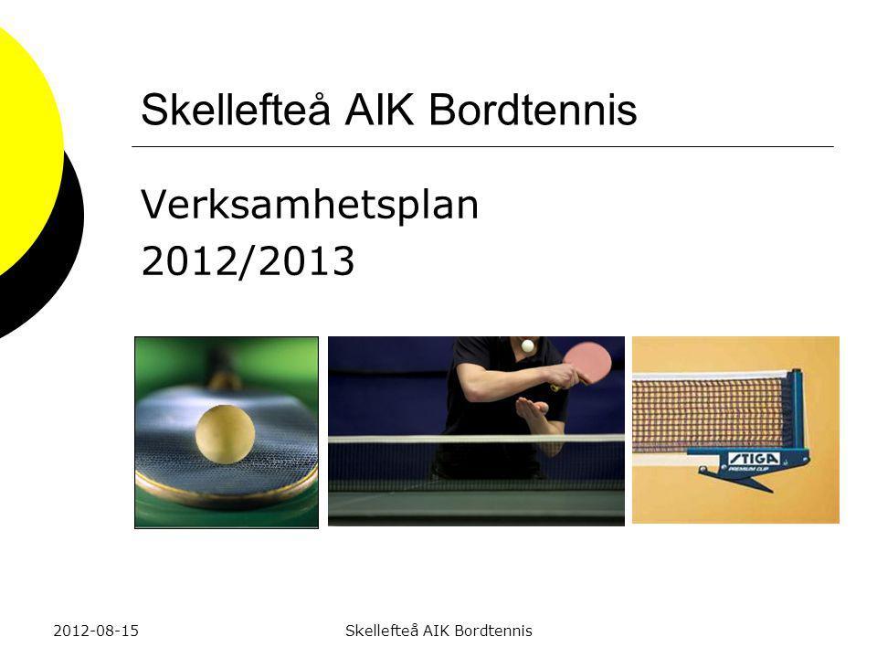 Skellefteå AIK Bordtennis Verksamhetsplan 2012/2013 2012-08-15Skellefteå AIK Bordtennis