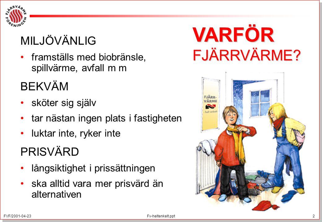 FVF/2001-04-23 2 Fv-heltenkelt.ppt MILJÖVÄNLIG framställs med biobränsle, spillvärme, avfall m m BEKVÄM sköter sig själv tar nästan ingen plats i fast