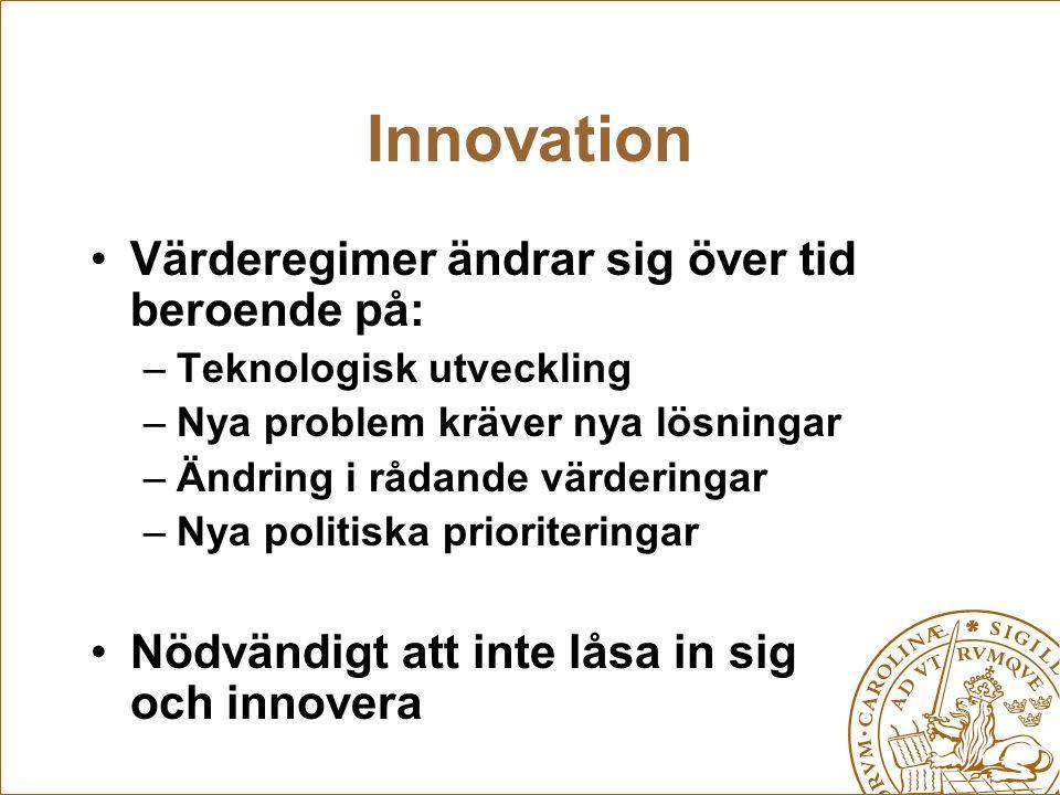 Innovation Värderegimer ändrar sig över tid beroende på: –Teknologisk utveckling –Nya problem kräver nya lösningar –Ändring i rådande värderingar –Nya politiska prioriteringar Nödvändigt att inte låsa in sig och innovera