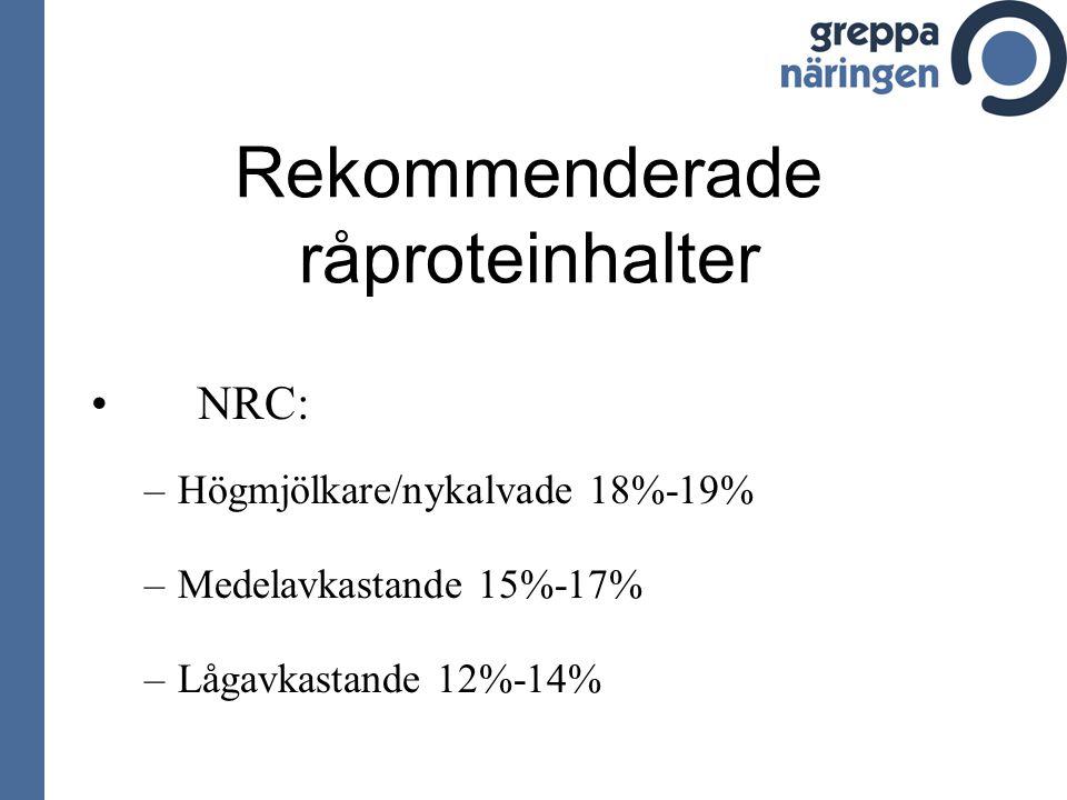 Rekommenderade råproteinhalter NRC: –H–Högmjölkare/nykalvade 18%-19% –M–Medelavkastande 15%-17% –L–Lågavkastande 12%-14%